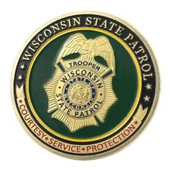 U.s. Wisconsin State Patrol Trooper   Gold Plated Police Challenge Coin