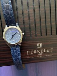 Perrelet First Class Automatic Mother Of Pearl Ladies Watch Blue Croc Leather