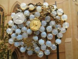 1800s Antique Opaline Rosary-in Brass/medals Virgin Mary/st Cure D 'ars