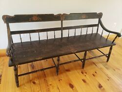 Deacon Barber Shop or Hall Bench 1840 Antique...Great Original Paint
