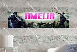Black Panthers Personalized Name Poster Customized Birthday Party Banner Decor
