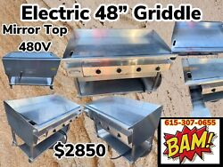 Keating 48andrdquo Miraclean Electric- 480v Griddle - Mirror Clean - Grill On Stand