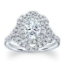 Oval Vintage Antique Diamond Halo Engagement Ring White Sapphire Ctr 2.30 Tcw