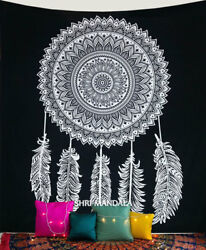 Black and White Dream Catcher Tapestry Hippie Wall hanging Indian Hippie Throw