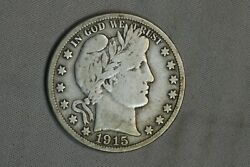 1915-s Barber Silver Half Dollar F + Vf Fine Early Us Type Coin