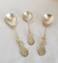 Victorian Sterling Silver Berry Spoons And Sugar Sifter Spoon. Birmingham 1890.