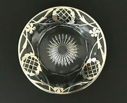 Antique Sterling Marked Silver Overlay Floral Leaf Cut Glass Plate Dish 6 3/4and039and039