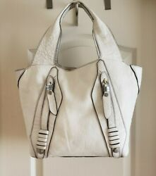 orYany Medium White Leather Shoulder Tote Carry-all Purse Bag