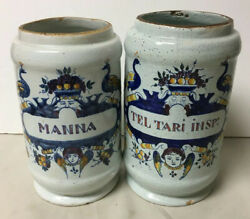Pair Of Early Antique Glazed Painted Faience Apothecary Medicine Jars Peacocks