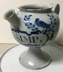 Antique Hand Painted Faience Beaked Apothecary Medicine Syrup Vessel Ox Simp