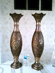 Pershian Art Exhibition X Large Pair Of Antique Solid Silver Vases 63 Cm Tall