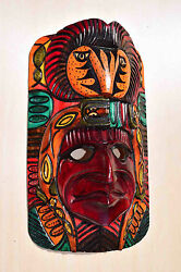 Hand Made Carved Wooden Mask From Guatemala - Gorgeous Details 4