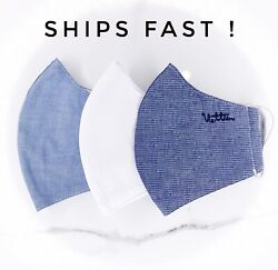 Reusable Fabric Cotton Face Mask  (Pack of 3) - Striped Blue  White  Gray