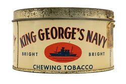 Rare 1930s Canadian Kingand039s Georgeand039s Navy Litho 2 Lb Tobacco Tin In Good Cond