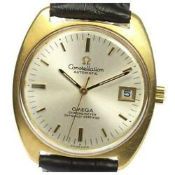 Omega Constellation Chronometer Date K18yg Leather Automatic Menand039s Watch[b0517]
