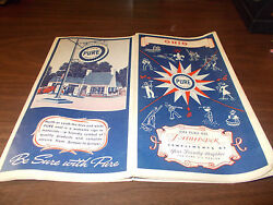 1937 Pure Oil Company Ohio Vintage Road Map / Great Gas Station Art