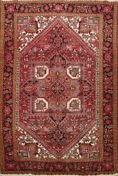 8x11 Heriz Geometric Oriental Classic Area Rug Hand-knotted Red Wool Living Room