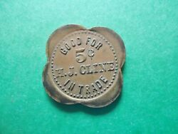 Early Us 5 Cents Trade Token H.j. Cline . Indian Head Bronze Size 1x 1
