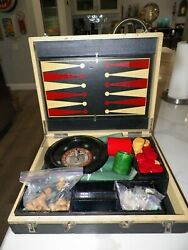 Vintage Multi Gaming Set With Some Bakelite Pieces Roulette