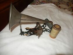 1900 Painted Cast Iron Female Mermaid Puck Cylinder Phonograph And Horn Working