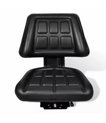 New Black Tractor Seat Universal W/ Backrest Slide Track Steel Compact Mower