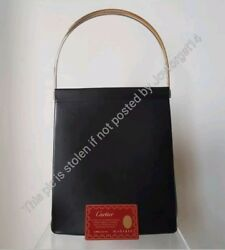 Auth Trinity Leather Bag Excellent Condition Black Free Ship