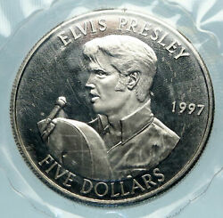 1997 Marshall Islands Elvis Presley Microphone Old Antique 5 Dollars Coin I84124