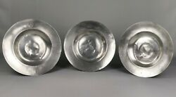 A Rare Set Of Three Late 17th Century Pewter Chargers.