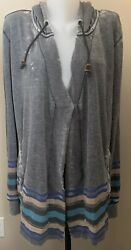 TenTree Women's Gray Hooded Open JacketCardigan Soft Size Large L Stripes