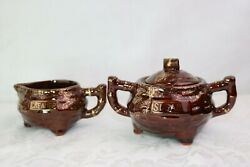 Vintage Brown Red Clay Three Footed Creamer And Sugar Bowl Gold Trim