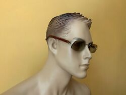 100% AUTHENTIC CARTIER RIMLESS SUNGLASSES 135b WOOD TEMPLES MADE IN FRANCE