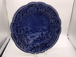 Historical Staffordshire Dark Blue Dinner Plate With Oriental Pagoda River 1825