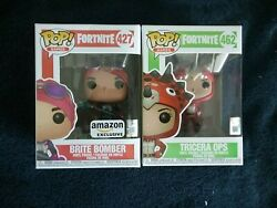 Funko Pop Fortnite Exclusive Brite Bomber 427 And Tricera Ops 462, New