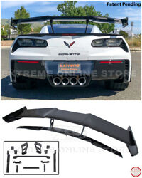Zr1 Style Carbon Flash Rear Wing Spoiler With Bracket For 14-19 Corvette C7 Z06