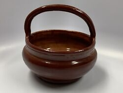 """Vintage 1973 Handmade Red Brown Clay Glazed Basket Bowl Italy 8"""""""