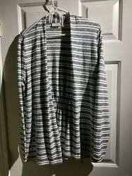LL Bean Womens Large Cardigan Top Ivory Black Stripe Open Front Thin Knit  NEW$