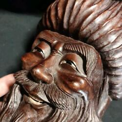 Antique Wood Carving Asian Wooden Traditional Mask Object Used From Japan F/s