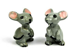 Lot Of 2 Vintage Hagen Renaker Gray Mice Mouse With Pink Ears Curled Tail