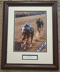 Secretariat 1973 Preakness 8 X 10 Framed Remote Photo Signed Ron Turcotte