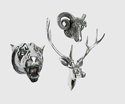 Wall Mounted Metal Stag Head With Lion And Ram Head Deer Antelope Fx