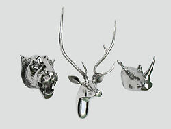 Large Wall Mounted Metal Stag Head With Lion Rhino Head Deer Antelope Fx]