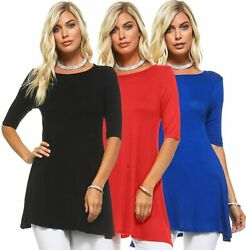 Isaac Liev Womenand039s 3/4 Sleeve Tunic Top Andndash Pack Of 3 Swing Flowy Long Shirts - Ma