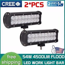2x 54w 9inch Cree Led Offroad Light Bar Flood Beam Driving Truck Suv 4wd Ford