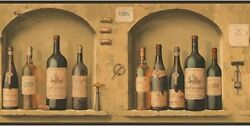 Bottles Of Wine On Wall Shelf 10quot;hx15#x27;L Prepasted Lt Brown background