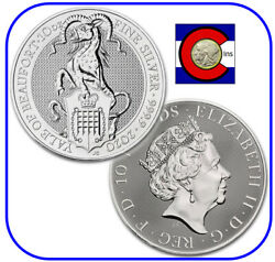 2020 Queen's Beast Yale Of Beaufort 10 Oz Silver Uk Coin In Mint Capsule