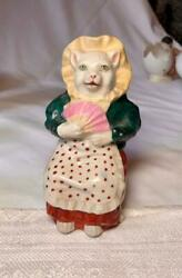 Antique Porcelain Figural Kitty Cat Still Coin Bank 1800s Rare Lady With Fan