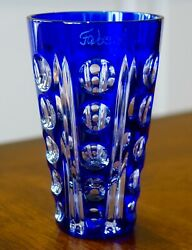 Faberge Salute Shot Glass, Signed, Cased Cut Clear Crystal