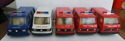 Tt No. 828's 829 Friction Fire Dept. Ambulance And Police C1970's Toy Vehicles