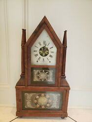 Rare Birge And Fuller Brass Fusee Double Steeple 4 Candle Stick 8 Day Clock