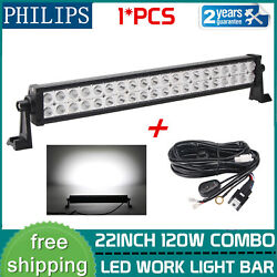 22 Inch 120w Combo Led Work Light Bar Philips Offroad 4wd Suv W/ Free Wires Kit
